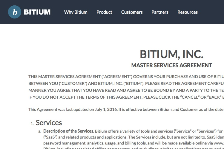 Screenshot of Bitium and