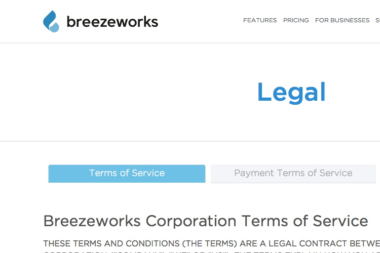 Screenshot of Breezeworks