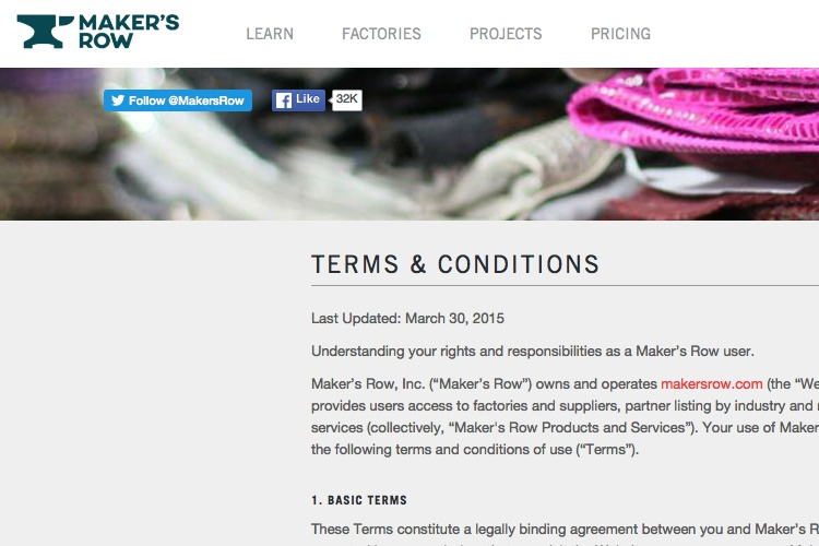 Screenshot of Makers Row Terms & Conditions