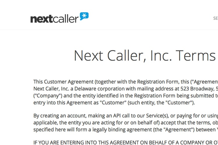 Screenshot of Next Caller Terms of Service