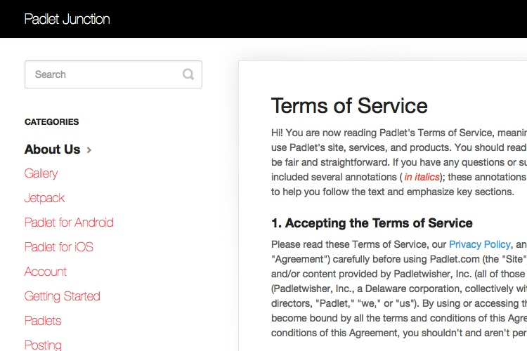 Screenshot Of Padlet Terms Service