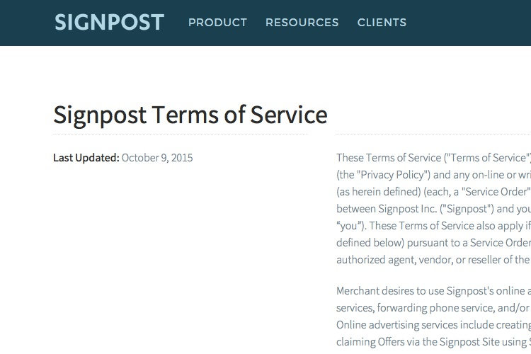 Screenshot of Signpost Terms of Service