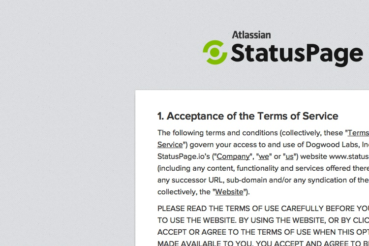 Screenshot of StatusPage.io Terms Of Service