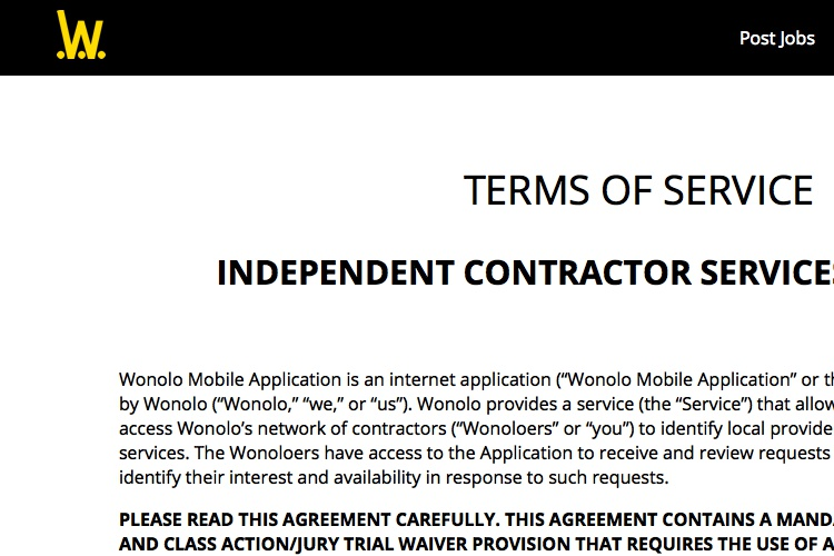 Screenshot of Wonolo Terms of Service