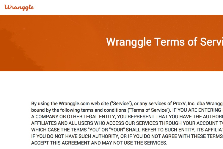 Screenshot of Wranggle Terms of Service