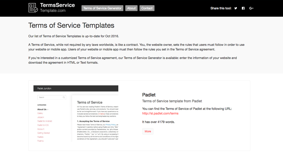 2019 Terms of Service Template Generator